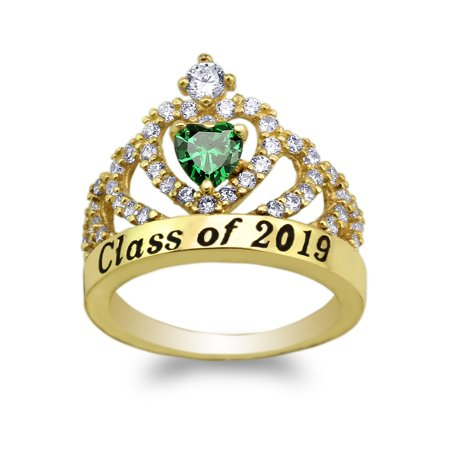 JamesJenny Yellow Gold Plated School Class of 2019 Graduation Green 0.5ct Heart CZ Ring Size (Green Cubic Zirconia Heart)