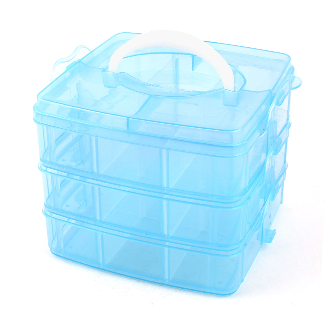 Unique Bargains Carry Handle 3 Layers 18 Compartments Separable Storage Case Container Blue