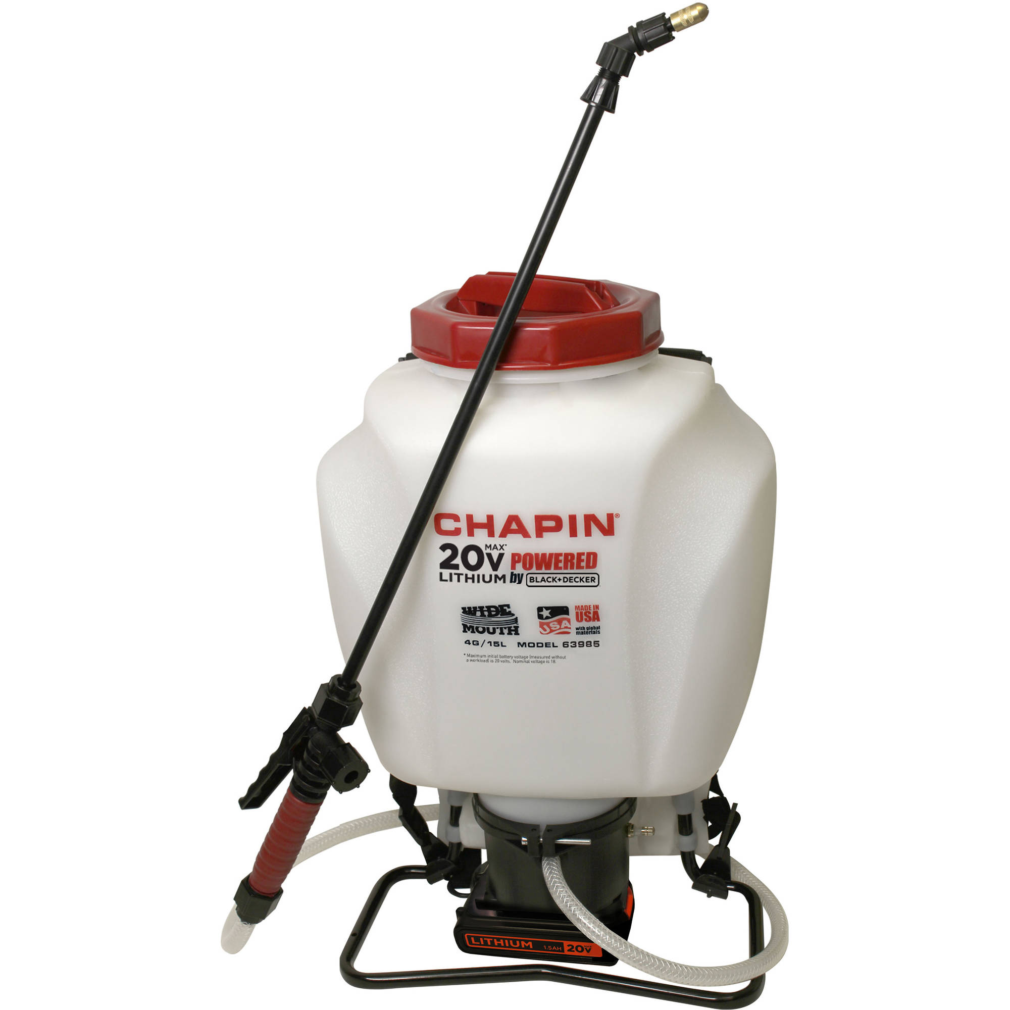 Chapin 63985 4-Gallon Wide Mouth 20V Battery Backpack Sprayer Powered by Black & Decker