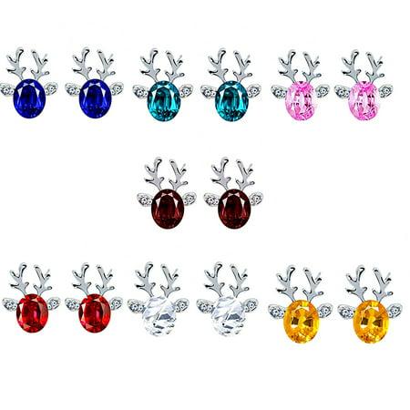 Ear Spikes (Holiday Time Women Girls Christmas Elk Shape Earrings Rhinestones Crystal Ear Clip Pin Alloy Stud Jacket Spike)