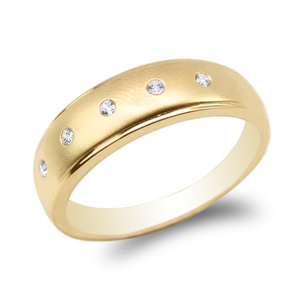 JamesJenny Yellow Gold Plated Round CZ Embedded Plain Wedding Band Ring Size 7-12