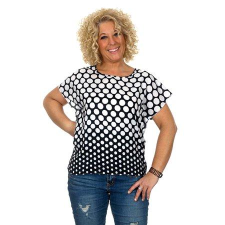 AFC Women's Sheer Polka Dot Short Sleeve Pullover Blouse in 4 Great -