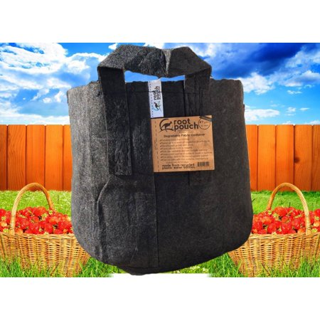 Root Pouch, Black Great Quality Grow Bag 7 Gallon With Handles Bundle of 10 (Growing Great Garlic)