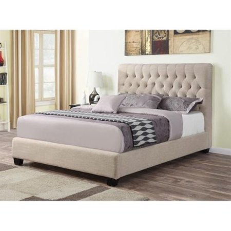 Coaster Chloe Upholstered California King Bed in Oatmeal California King Upholstered Bed