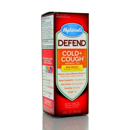 Hylandâs DEFEND Cold and Cough Liquid, Natural Relief of Nasal Congestion, Cough, Sore Throat, and Sneezing, 4