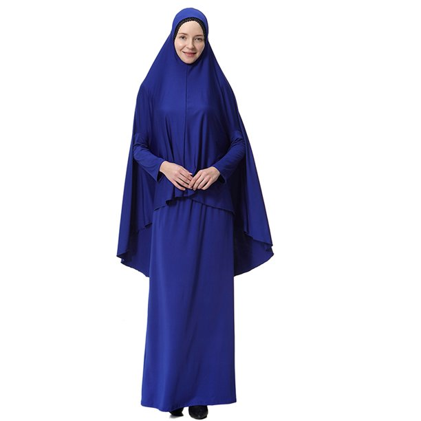 Women's 2Pcs Muslim Kaftan Islamic Hijab + Long Sleeve Maxi Dress