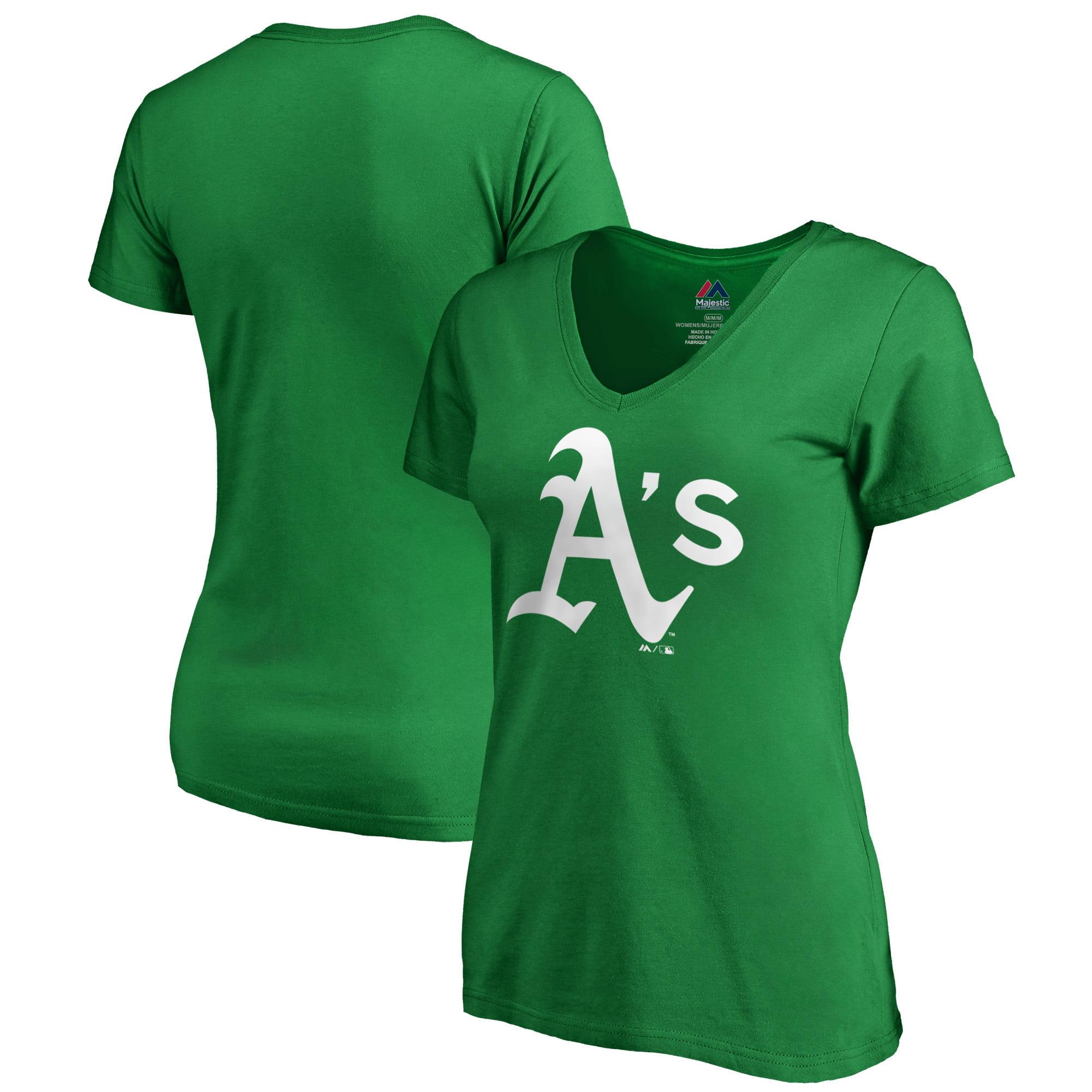 Oakland Athletics Majestic Women's St. Patrick's Day White Logo V-Neck T-Shirt - Kelly Green