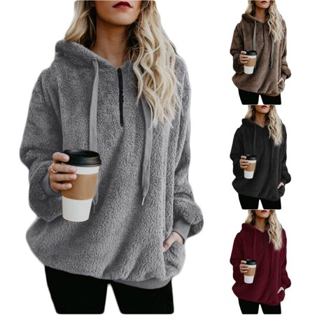 Women's Oversized Sherpa Pullover Hoodie with Pockets 1/4 Zip Sweatshirt , Black ()