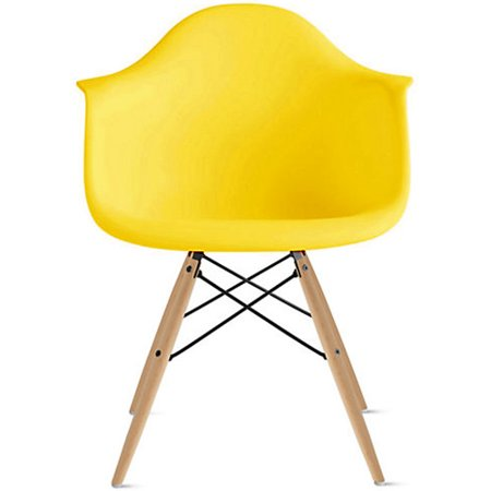 Pleasing 2Xhome Yellow Mid Century Modern Plastic Dining Chair Molded With Arms Armchairs Natural Wood Legs Desk No Wheels Accent Chair Vintage Designer For Interior Design Ideas Tzicisoteloinfo