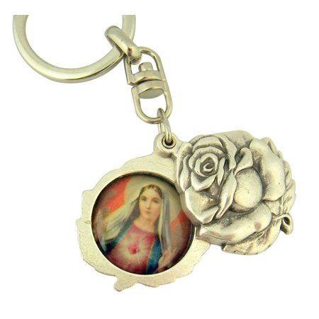 Silver Tone Immaculate with Sacred Heart Mary and Jesus Sliding Rosebud Medal Key Chain, 1 3/4