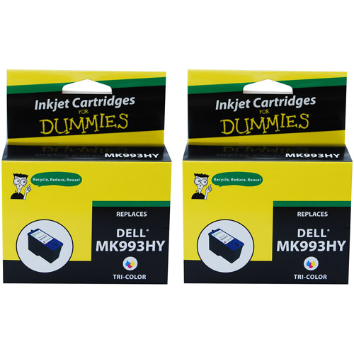 For Dummies Remanufactured Dell MK993HY Tri-Color Inkjet Cartridge, 2-Pack