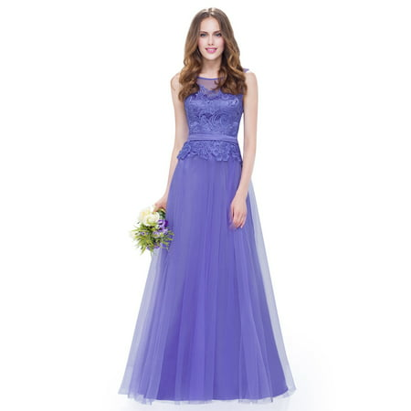 Ever Pretty Women S Lace Wedding Bridesmaid Dresses Elegant Evening Party Dress For 08895 Periwinkle