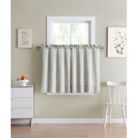 Shabby Chic Gray 2 Piece Window Curtain Cafe Tier Set with Floral Doily Die Cut Out Design, Two Tiers 36 IN Long, 100% CottonGray ()