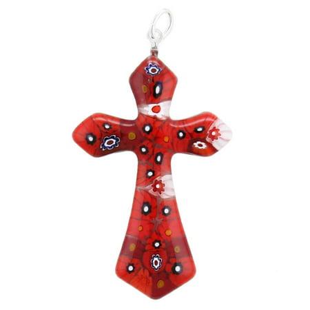 GlassOfVenice Murano Glass Red Millefiori Elegant Cross Pendant ()