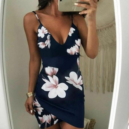 Women Sexy Bandage Bodycon Floral Evening Party Cocktail Short Mini Dress Blue Size