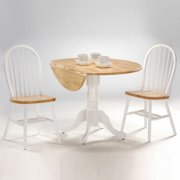 """42"""" Dual Drop Leaf Table with 2 Windsor Chairs, Multiple Finishes"""