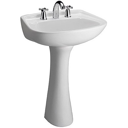 Barclay Hartford Vitreous China Circular Pedestal Bathroom Sink with Overflow