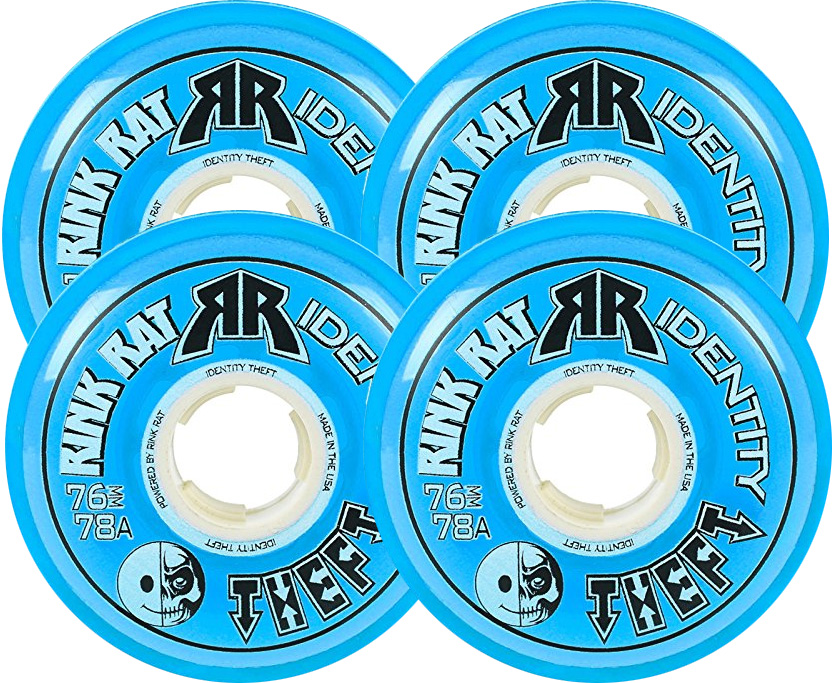RINK RAT Wheels 72mm 78a IDENTITY THEFT 4-Pack Blue Inline Indoor Hockey by Rink Rat