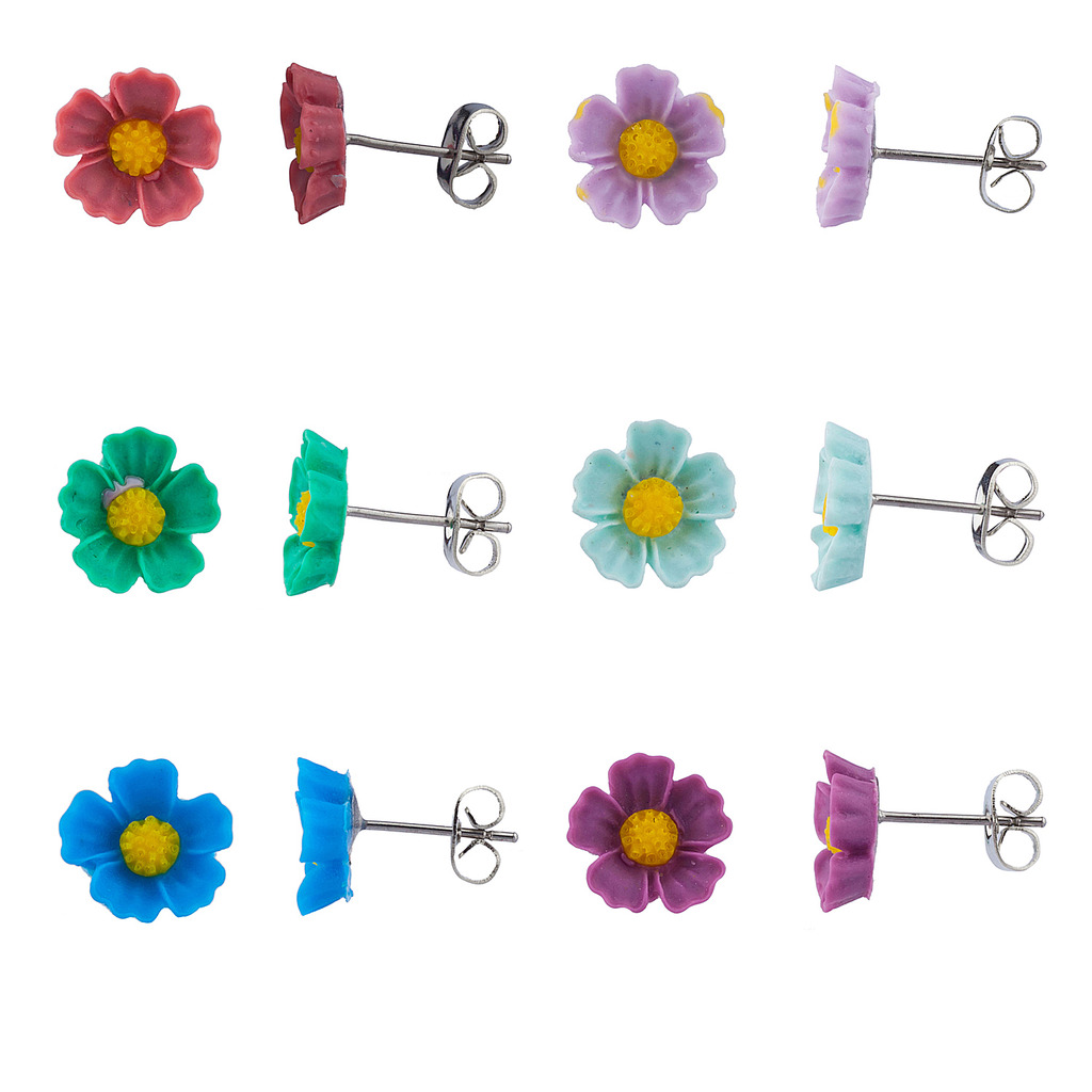 Lux Accessories Multi Color Daisy Earring Set (6Pc)