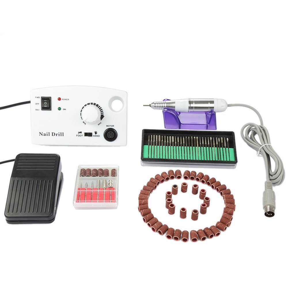 Newest 20000 RPM Professional Electric Acrylics Nail Art Drill File Manicure Pedicure Band Grooming Kit Bits Salon Machine Complete with Foot Pedal