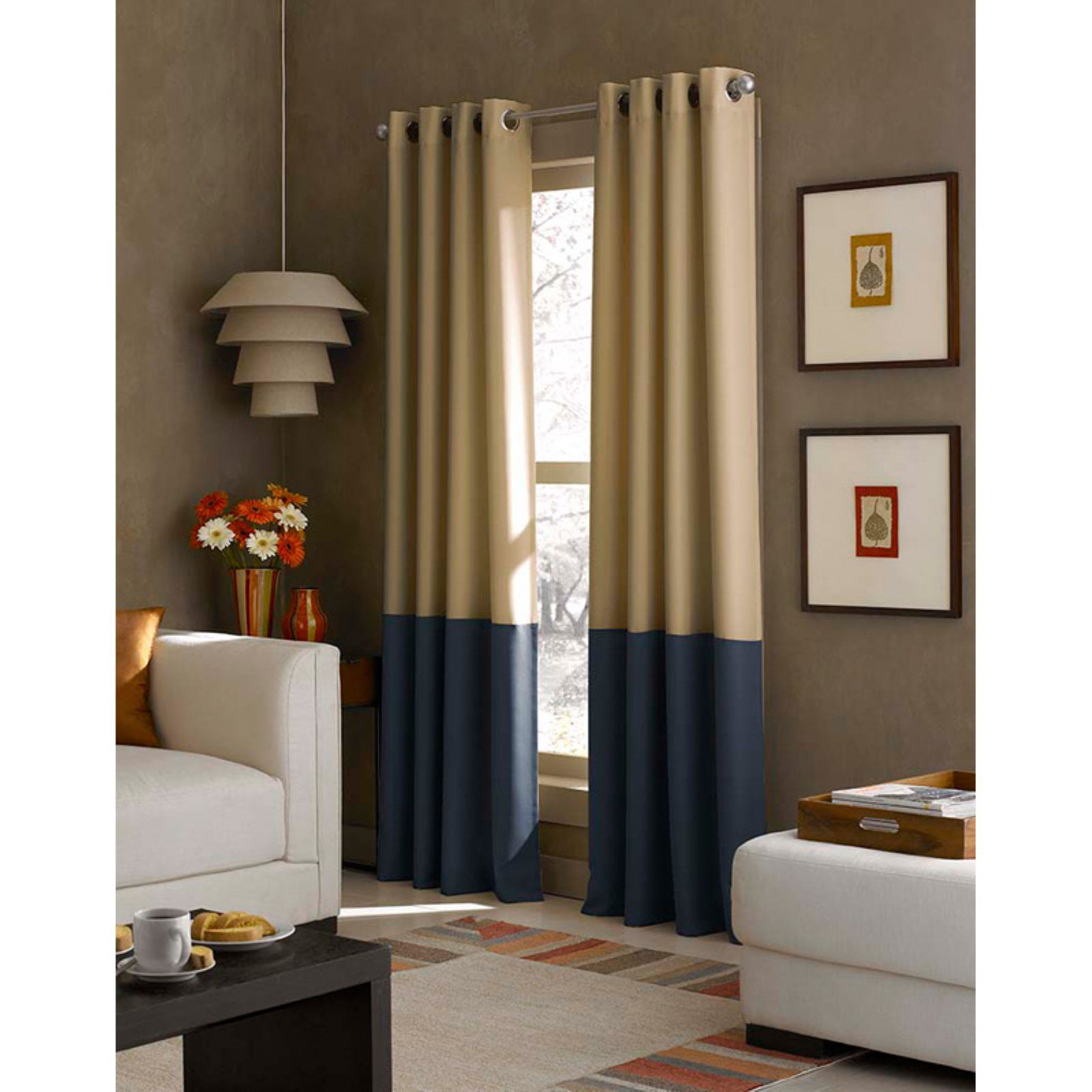 1PC New 2-TONE Window Curtain Grommet Panel Lined Blackout EID WHITE BROWN