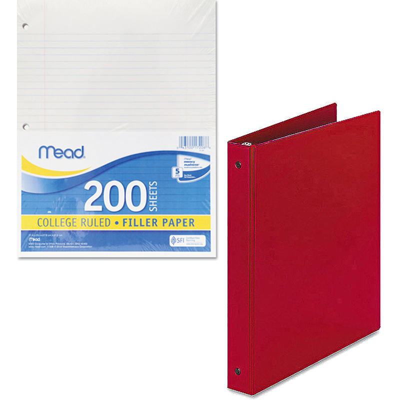 """Mead Filler Paper, College Ruled, 3-Hole Punched, 11 x 8-1/2, 200 Sheets Per Pack and Avery 1"""" Economy Round Ring Reference Binder, Available in Multiple Colors Bundle"""