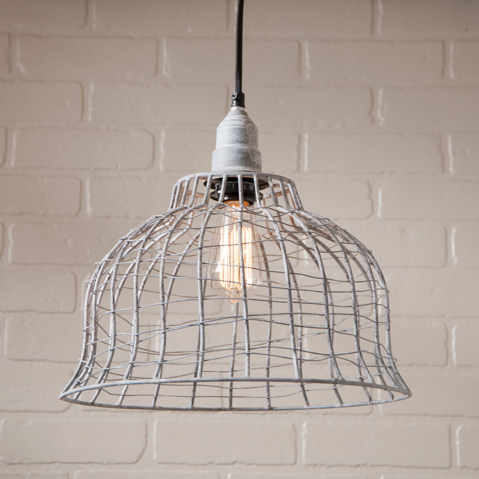 Industrial Wire Cage Pendant in Weathered Zinc