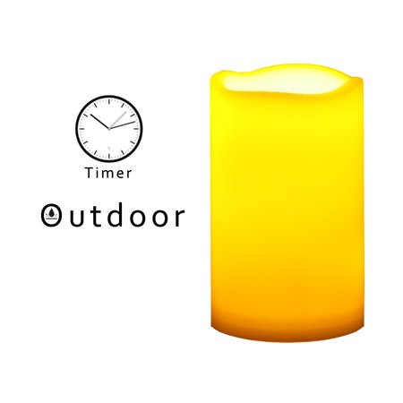 Outdoor Indoor Flameless LED Battery Operated Pillar Candle with Timer 3