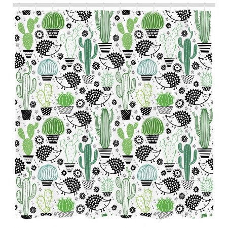 Cactus Shower Curtain Cartoon Style Inspired Drawing Of Cute Hedgehog Animals Saguaro And Prickly Pear Fabric Bathroom Set With Hooks Multicolor
