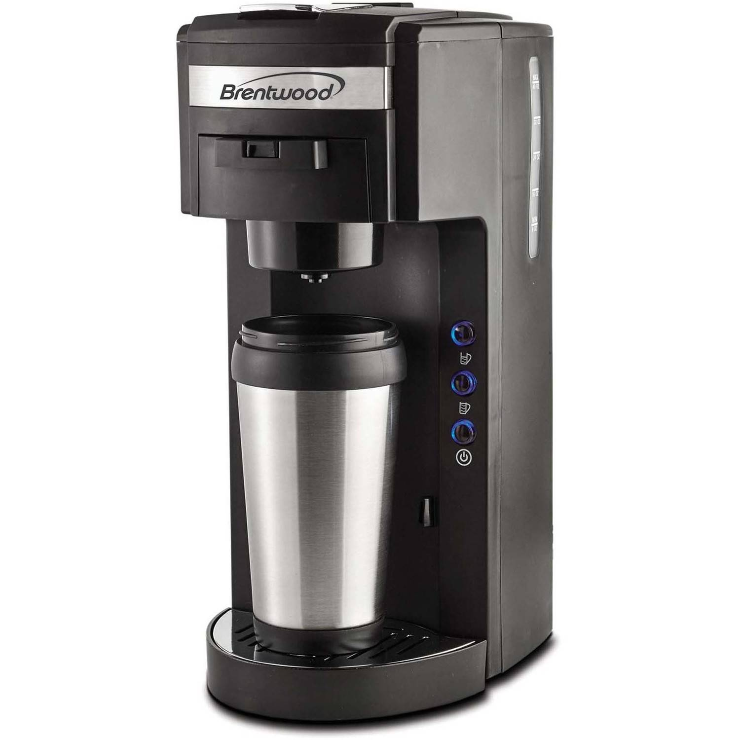 Brentwood Single Serve Coffee Maker, K-Cup Soft Pod Compatible, Black