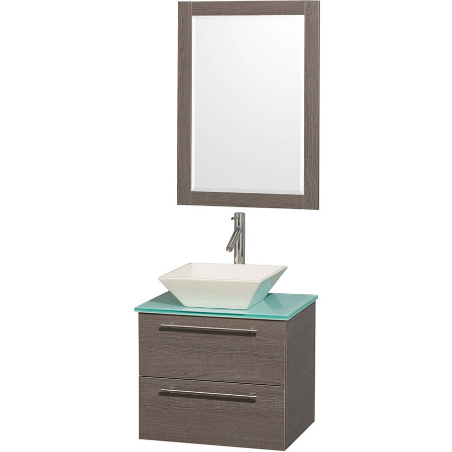 Wyndham Collection Amare 24 inch Single Bathroom Vanity in Gray Oak with Green Glass Top with Bone Porcelain Sink, and 24 inch Mirror