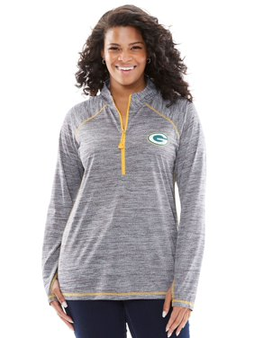 5fb2cf9a012 Product Image Woman Within Plus Size Nfl Half-Zip Mock Neck Tee