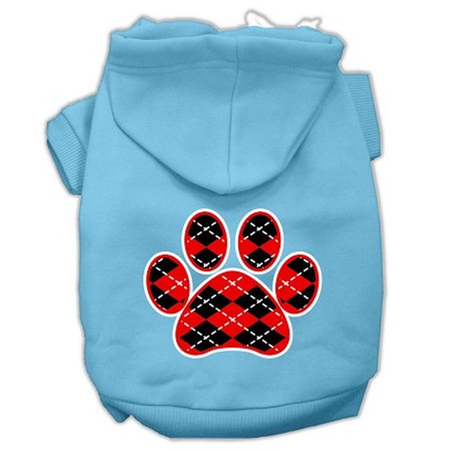 Argyle Paw Red Screen Print Pet Hoodies Baby Blue Size Xl (16) - image 1 of 1