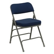HERCULES Series Premium Curved Triple Braced & Quad Hinged Fabric Upholstered Metal Folding Chair-Color:Navy