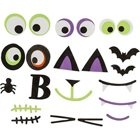 Cute Characters Halloween Trick or Treat Pumpkin Carving Decorating Party Activity Kit, Foam, Pack of 29. - Halloween Carved Pumpkin