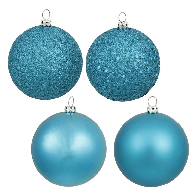 "Vickerman 4"" Turquoise 4-Finish Ball Ornament Assortment, Set of 12"