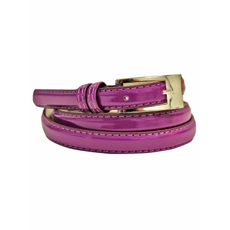 Skinny Faux Patent Leather Belt