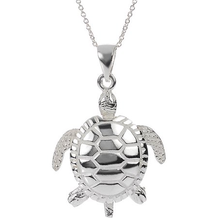 Brinley co sterling silver moveable sea turtle pendant 18 sterling silver moveable sea turtle pendant 18 mozeypictures Images