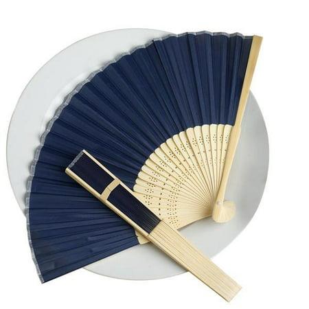 BalsaCircle Decorative Silk Fabric Folding Hand Fans Wedding Favors for $<!---->