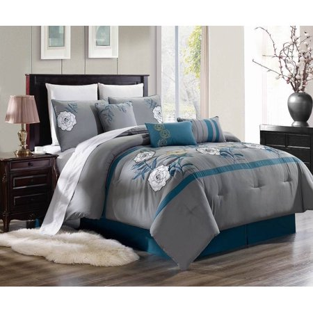 KING 3PC Brenda#3 Luxurious Printed Duvet Bed Cover Set, One (1) Oversized Embroidered Duvet Cover with Two (2) Pillow Shams