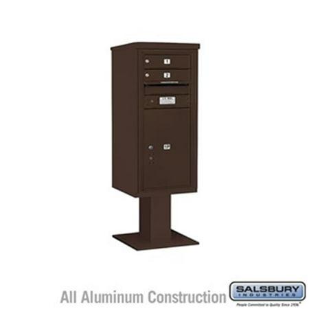 Salsbury 3410SX-02BRZ 52.625 in. 10 Door High Unit Single Column 2 MB1 Doors & 1 PL6 Pedestal Mounted 4C Horizontal Mailbox ADA Height Compliant Unit,