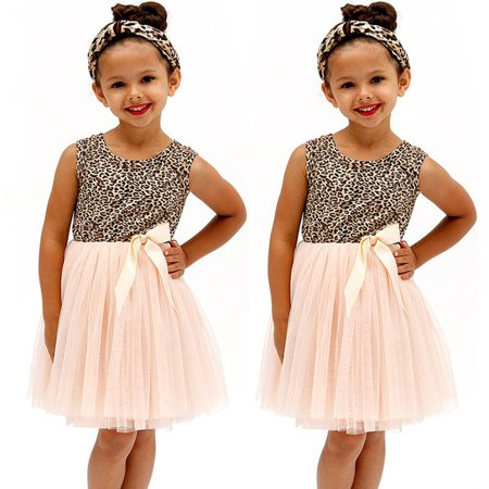 Fancy Girls Dresses (New Fashion Baby Girls Dress Leopard Tulle Bow Ball Gown Fancy Party)
