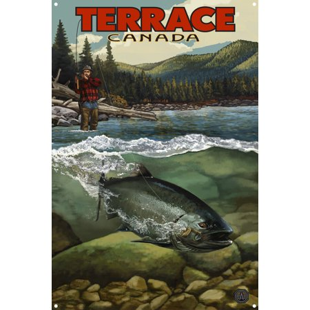 Terrace British Columbia Canada Salmon Run Metal Art Print by Paul A. Lanquist (12