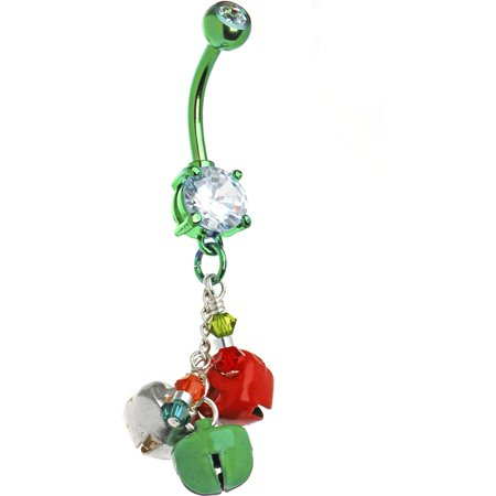 Body Candy Handcrafted Holiday Red and Green Jingle Bells Belly Button Ring (Gay Belly Button Rings)