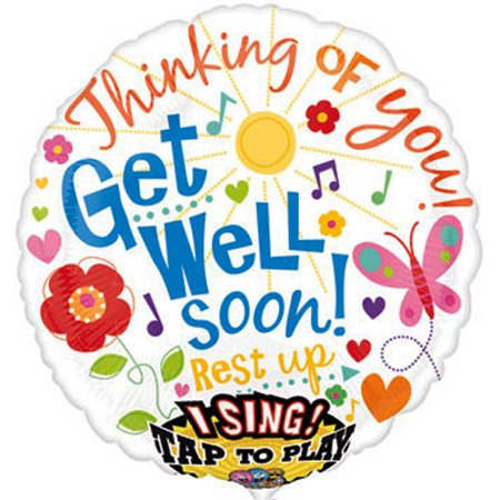 'Get Well Soon' Foil Mylar Singing Balloon (1ct)