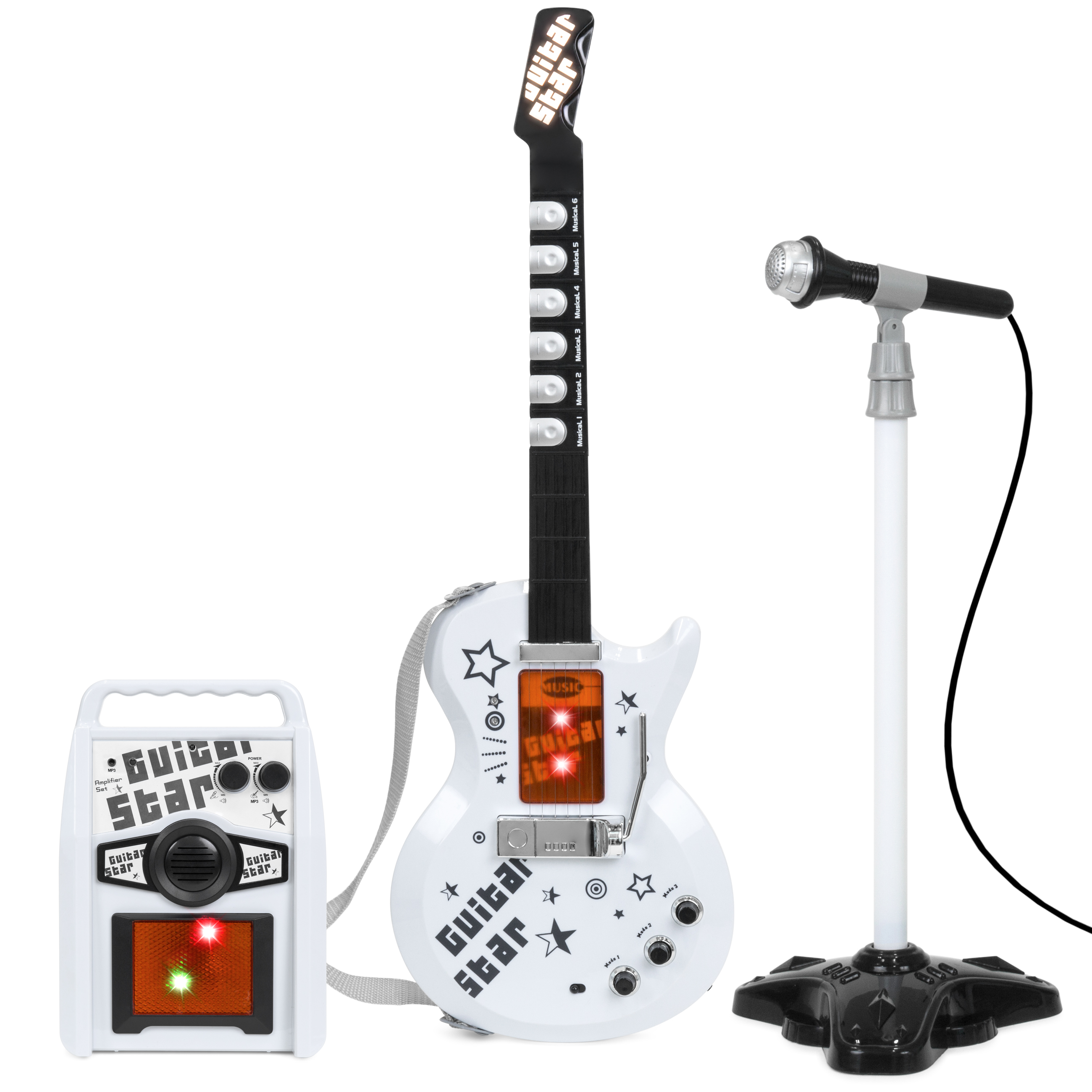 Best Choice Products Kids Electric Guitar Star Toy Play Set w/ 6 Demo Tunes, Microphone, Wireless Amp, AUX - White