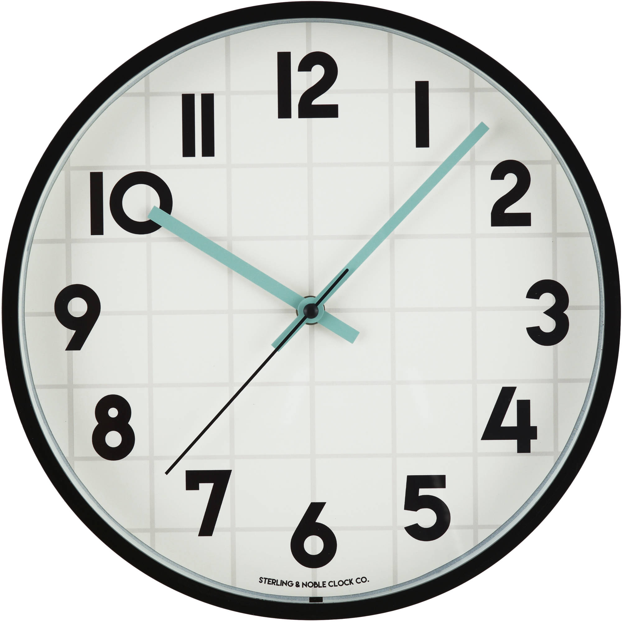 "Mainstays 11.5"" Windowpane Mint Wall Clock"