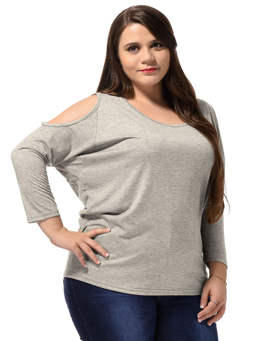 Unique Bargains Women's Plus Size Cut Out Shoulder Dolman Sleeves Pullover Tee Shirt