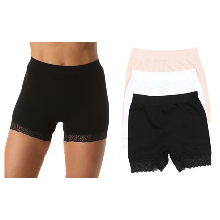 Just Intimates Seamless Boxer Boyshort Panties with Lace Detail (3 Pack)