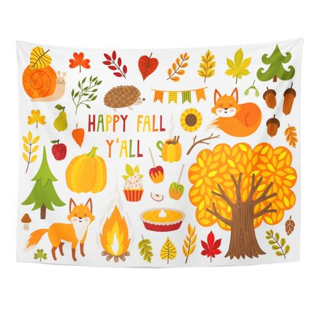 Fall Festival Food Ideas (REFRED Cute Autumn Cartoon Characters Plants and Food Fall Season Collection for Party Harvest Festival Wall Art Hanging Tapestry Home Decor for Living Room Bedroom Dorm 51x60)